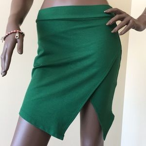 Green Crop Pencil Short Skirt
